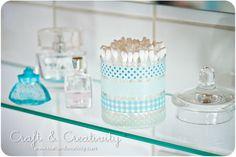 washi tape - decorated containers / Contenedores para el baño