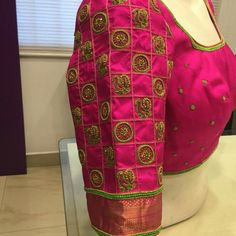 pink peacock classical south indian Designer wedding blouse To inquire whatsapp 918888328116 or ethnicdiagmailcom Pattu Saree Blouse Designs, Blouse Designs Silk, Designer Blouse Patterns, Bridal Blouse Designs, Dress Designs, Pink Saree Blouse, Saree Blouse Patterns, Sleeve Designs, Blue Blouse