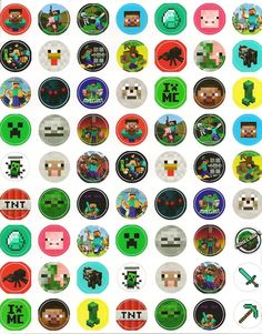 """Minecraft 1"""" sticker sheet    Sheet of 1 inch round vinyl die cut Minecraft stickers. Total of 63 in all. Great for School notebooks, lunchboxes, party favors etc"""