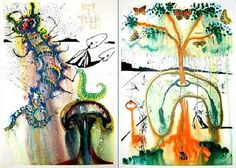 Salvador Dali's colorful illustration for Alice in Wonderland by Lewis Carroll