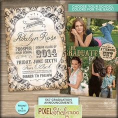 HS & College Graduations are just around the corner! These are great for use as an announcement, an invitation, or a party invite! Customizable colors and text. 5x7 Graduation Announcement // Graduation by PixelStickStudio, $15.00
