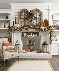 Fall living room decor, home decor, DIY home decor, thankful sign, pumpkin decor, fireplace, living room, kitchen, family room, dining room, seating room, formal living room, fall decor, autumn decor, chair, mantle, pumpkin, wreath, log storage, built in,