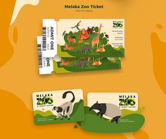 Zoo Ticket Design animal with white lemur and malayan tapir of endanger animal. Game Design, Ticket Design, Flyer Design, Branding Design, Zoo Tickets, Zoo Map, Zoo Project, Banner Design Inspiration, Brand Manual