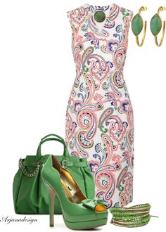 """""""Paisley Dress"""" by arjanadesign on Polyvore adorable for work with a matching green blazer or cardigan"""