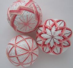 pink blush - hand embroidered thread balls - japanese temari