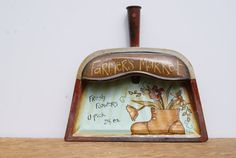 Vintage Dust Pan Hand Painted Cottage Chic Decor by Ramshackles