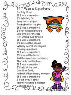 First Grade Wow Superhero Poem Kindergarten Poemas En Ingles Superhero Preschool, Superhero Classroom Theme, Preschool Songs, Classroom Themes, Superhero Writing, Superhero Kids, Superhero Party, Super Hero Day, Poetry For Kids