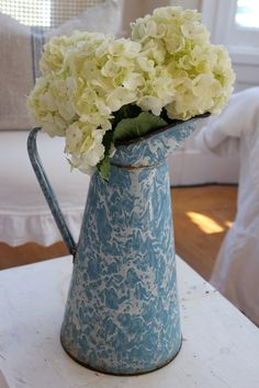 Vintage French Enamelware Pitcher Blue Swirl