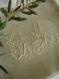 ♒ Enchanting Embroidery ♒ Hand embroidered initials on linen