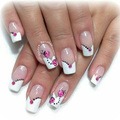 Flower Nail Designs, French Nail Designs, Toe Nail Designs, Nail Polish Designs, Beautiful Nail Art, Gorgeous Nails, Pretty Nails, Nail Manicure, Toe Nails