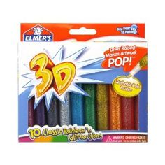 These can be a little tough for really young kids to handle but my 3 year old goes crazy for them.  3D washable glitter paint pens $5