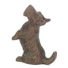 Cast Iron Scottie DOG Playful Begging Door Stop Wagging Tail by HomeOffice. $25.00