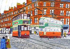 """""Caurs"""" by Stuart Fellowes, Glasgow, Scotland // This painting depicts two tram-cars on a typical Glasgow street set in the 1950s. The ""shooglies as they were known"" quietly rumbling along with the low hum of their electric motors making a contrast to the noisy polluting diesel engines of to-days buses. The Coronation tram depicted... // Imagekind.com -- Buy stunning, museum-quality fine art prints, framed prints, and canvas prints directly from independent working artists and…"