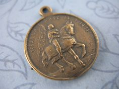 Religious Medal Joan of Arc Vintage Inspired Religious Jewelry Religious Supplies Rosary Supplies B1068LS by badchihuahuadesigns on Etsy https://www.etsy.com/listing/209172140/religious-medal-joan-of-arc-vintage