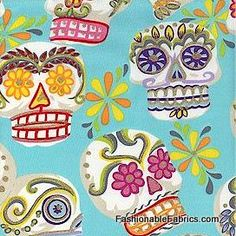 Calaveras Skulls on turquoise from Folklorico Collection by Alexander Henry Fabrics designer cotton novelty fabric of mexican day of the dead folk holiday Textile Patterns, Print Patterns, Sewing Patterns, Textiles, Floral Print Background, Floral Prints, Turquoise Background, Novelty Fabric, Novelty Print