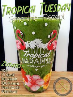 Grüne Smoothies mit Petersilie, Feldsalat, Kokosöl, Ananas und Kiwi