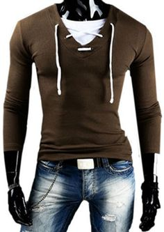 New Spring Hot Fashion Men Long Sleeve Solid V-neck T-shirt Male Cotton