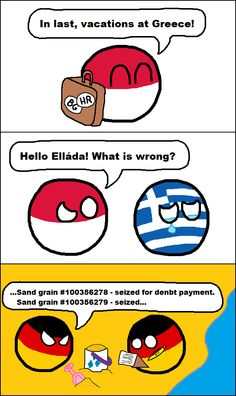 """Der Sand Reckoner"" (Poland, Greece, Germany ) by mikeelpi #polandball #countryball"