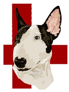English Bull Terrier Pedigree Breed Illustrated Art Print A5 Critter Pawtraits
