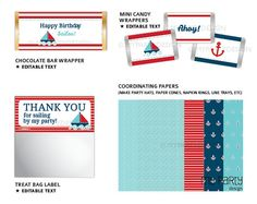 Nautical Party Pack Blue and Red INSTANT by mypartydesign