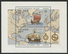 Iceland Scott #751 (06 Apr. 1992) Souvenir Sheet,  Discovery of America Europa issue:   Viking longboat Leif Erikson;  Sailing ship of Christopher Columbus.   (stamps with no border line).