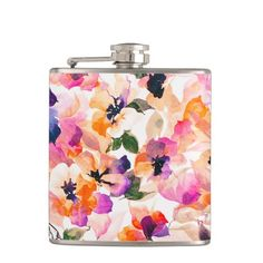 Chic Floral Pattern Pink Orange Pastel Watercolor Hip Flask