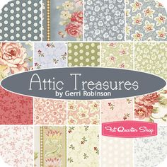 Love these soft colors. Attic Treasures Fat Quarter Bundle Gerri Robinson for Red Rooster Fabrics - Fat Quarter Shop