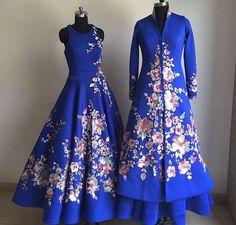 Suneet Verma # blue gown # sherwani look # bridal fusion look # Indian Bridal Fashion, Indian Wedding Outfits, Indian Outfits, Choli Dress, Anarkali Dress, Anarkali Suits, Indian Gowns, Indian Attire, Indian Wear