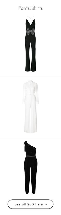 """""""Pants, skirts"""" by bliznec ❤ liked on Polyvore featuring jumpsuits, black, la perla, jump suit, beach jumpsuit, white, white jumpsuit, white jump suit, one sleeve jumpsuit and ulla johnson"""