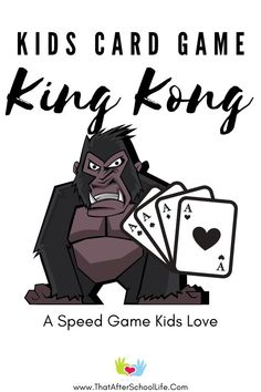 King Kong card game is a two player speed game for kids that requires concentration and quick hands. Make six four of a kind sets before your opponent to win.