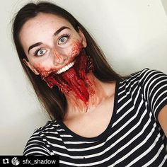 Horror Makeup, Zombie Makeup, Clown Makeup, Scary Makeup, Costume Makeup, Makeup Looks, Amazing Halloween Makeup, Halloween Kostüm, Halloween Cosplay