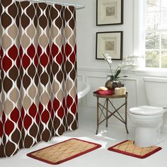 Clarisse 18 in. W x 30 in. L 15-Piece Bath Rug and Shower Curtain Set in Espresso, Brown/Barn Red