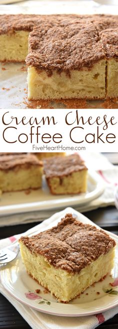Cheese Coffee Cake ~ swirled with a ribbon of sweet and tangy cream cheese filling and topped with a buttery, cinnamon streusel topping, making it a perfect breakfast, brunch, or coffee time treat! Cream Cheese Coffee Cake, Cream Cheese Filling, Cake With Cream Cheese, Cream Cheeses, Cupcakes, Cupcake Cakes, Breakfast Bake, Perfect Breakfast, Cake Recipes