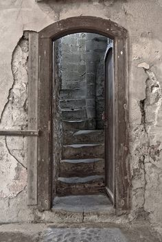 Stairs to bell tower, Papoul Abby, France.