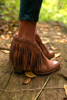 World Tour Fringe Bootie in Brown