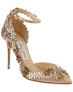 Jimmy Choo Lorelai 100 Floral Glittered Leather Ankle-Strap Pump is on Rue. Shop it now.
