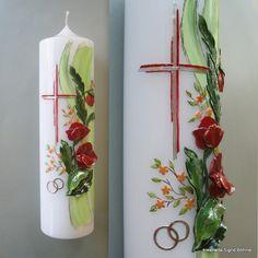 Hochzeitskerzen & Beleuchtung - Hochzeitskerze mit Mohn DW 301 - ein Designerstück von Kreatiwita bei DaWanda