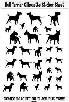 Bull Terrier Silhouette Sticker vel van PublicityHound op Etsy