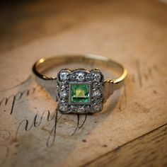 Enchanting!! Art Deco Emerald and Diamond Cluster Ring – Fetheray