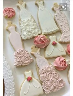 Pink and White Wedding Dress Cookies, 10 Pieces Pink and White Wedding Entourage Dress Bridal Shower Cookies, Bridesmaids Gifts, Spring Wedding, Wedding Entourage Dress, Rosette Cookies, Wedding Dress Cookies, Wedding Dress Cake, Wedding Dresses, Wedding Shower Cookies, Wedding Cupcakes, Wedding Themes, Wedding Events