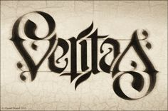 ✍ Sensual Calligraphy Scripts ✍ initials, typography styles and calligraphic art - Veritas ambigram