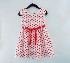 Valentine Hearts Dress by LoopsyBaby #hearts #kidsclothes #summer #hotpink #loopsybaby #GirlDress #polkadots