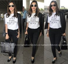 Teaming her J Brand denims with a Victoria Beckham tee, Sophie jetted out of Mumbai. Leather jacket in tow, she rounded out her look with Louis Vuitton shades, a Chanel bag and pair of Gucci loafers. She looked good! Sophie Choudry Photographed At The Airport Photo Credit: Viral Bhayani