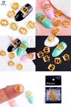 [Visit to Buy] Blueness Nail Art Decoration Rhinestone For Nails 10Pcs/Pack Hollow Gold Imperial Crown With Pearl Alloy DIY Glitters Nail Tools #Advertisement
