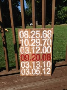Love it!!! All the important dates! Handmade by Signs by Design in Wadsworth, Our bdays, first date, wedding date, kids bdays. Great gift for my husband on our 5th anniversary (wood). Can't wait to give it to him!