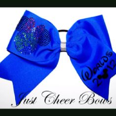 Electric blue Worlds 2012 Cheer Bow I would die if I went to worlds