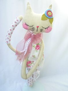 Molly,Shabby chic linen kitty ON HOLD