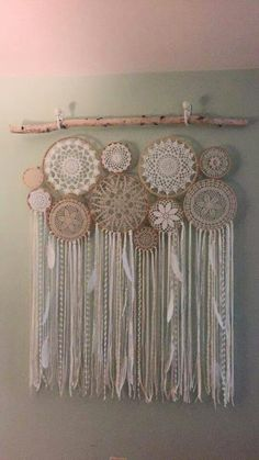 Crochet doily wall piece