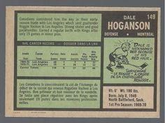 1971 Opc Hockey #149 Dale Hoganson Rookie Card