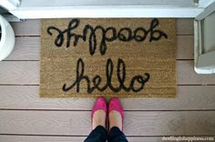 Greet your guests in style with this cute hello, goodbye doormat.